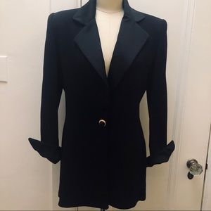St. John Collection Jacket Black Knit Satin Collar